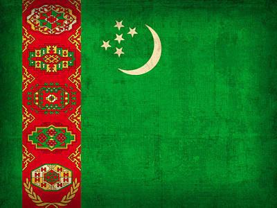Turkmenistan Flag Vintage Distressed Finish Art Print