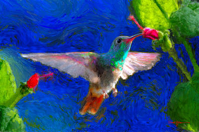 Painting - Da052 Turkscap Hummingbird  by Daniel  Adams