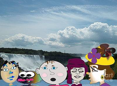 Digital Art - Turn Around Group We Are At Niagara Falls by Iris Gelbart