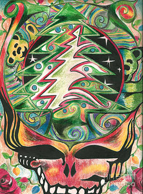The Grateful Dead Drawing - Turn On Your Holiday Love Light by Kevin J Cooper Artwork