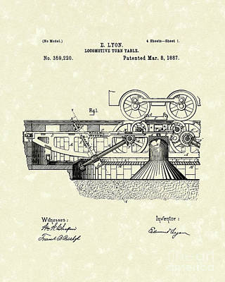 Drawing - Turn Table 1887 Patent Art by Prior Art Design