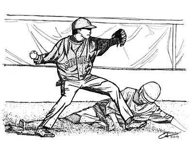 Mlb Drawing - Turn Two by Calvin Durham