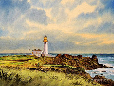 Sports Paintings - Turnberry Golf Course 9Th Tee by Bill Holkham
