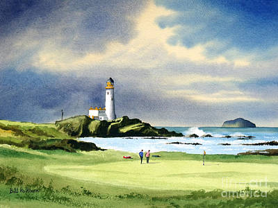 Famous Watercolor Painting - Turnberry Golf Course Scotland 10th Green by Bill Holkham