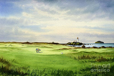 Sports Paintings - Turnberry Golf Course Scotland 12Th Tee by Bill Holkham