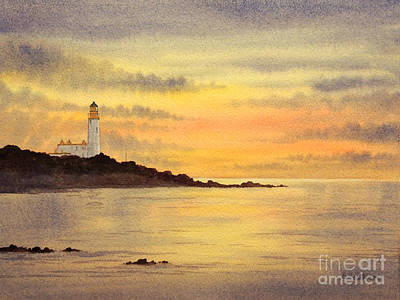 Sports Paintings - Turnberry Golf Course Scotland Sunset by Bill Holkham