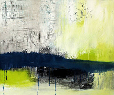 Blue And Green Painting - Turning Point - Contemporary Abstract Painting by Linda Woods