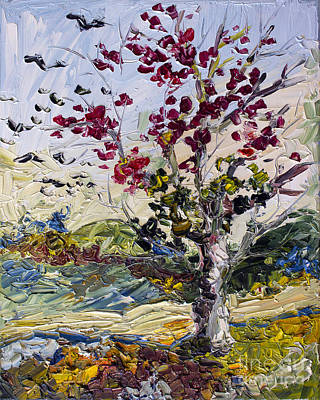 Painting - Turning Red Autumn Fire Tree And Migrating Birds by Ginette Callaway