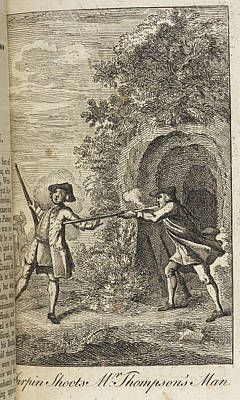 Highwaymen Photograph - Turpin Shoots Mr Thompson's Man by British Library