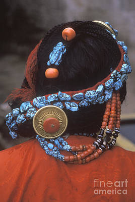 Photograph - Turquoise And Coral Hair Piece - Lhasa Tibet by Craig Lovell