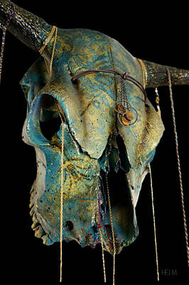 Turquoise And Gold Illuminating Steer Skull Art Print by Mayhem Mediums