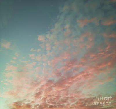 Turquoise And Peach Skies Art Print by Holly Martin