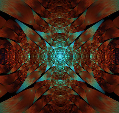 Digital Art - Turquoise And Rust by Lea Wiggins