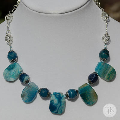 Sterling Silver Jewelry - Turquoise And Sapphire Agate Necklace 3674 by Teresa Mucha