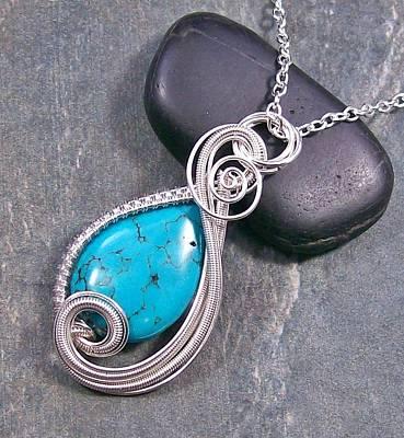 Heather Jordan Jewelry - Turquoise And Silver Swish Pendant  by Heather Jordan