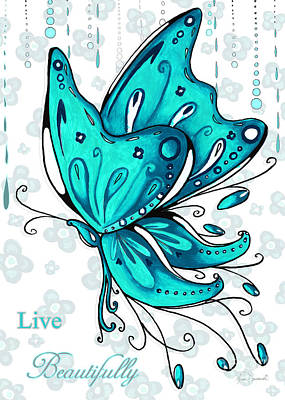 Black Is Beautiful Wall Art - Painting - Turquoise Aqua Butterfly And Flowers Inspirational Painting Design Megan Duncanson Live Beautifully by Megan Duncanson