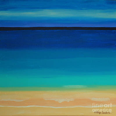 Painting - Turquoise Beach Scene Middle Panel by Robyn Saunders