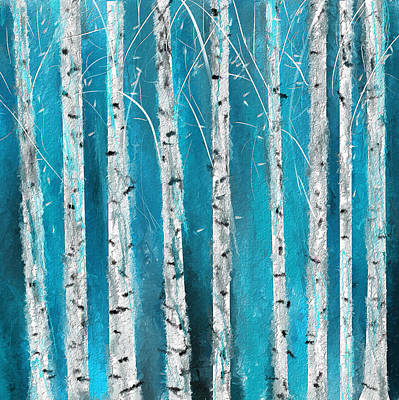 Blue Wall Painting - Turquoise Birch Trees II- Turquoise Art by Lourry Legarde