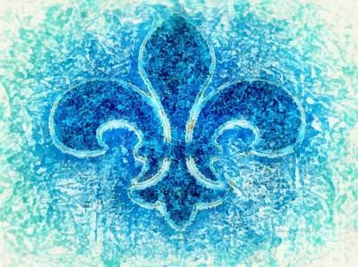 Fleur De Lis Photograph - Turquoise Bleu Fleur De Lys by Janine Riley