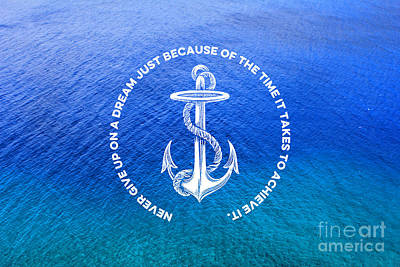 Photograph - Turquoise Blue Tropical Sea With Vintage White Anchor by Beverly Claire Kaiya