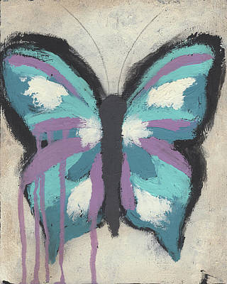 Abstracted Animal Painting - Turquoise Butterfly by Cassandra Cushman