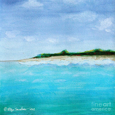 Painting - Turquoise Caribbean Beach 3 Square by Robyn Saunders
