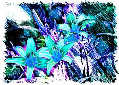 Lilies Photograph - Turquoise Daylilies - Digital Art by Carol Groenen