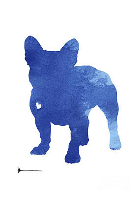 Dog Abstract Art Painting - Turquoise French Bulldog Silhouette by Joanna Szmerdt