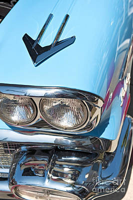 Photograph - Turquoise Front Chrome Trim Vintage Classic Automobile by David Zanzinger