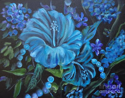 Turquoise Hibiscus Art Print by Jenny Lee