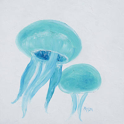 Cabin Wall Painting - Turquoise Jellyfish by Jan Matson