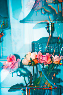 Photograph - Turquoise Lamp And Roses by Adria Trail