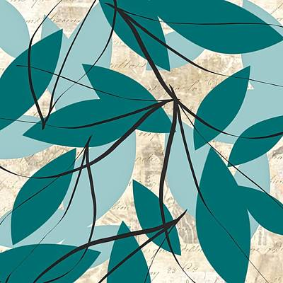 Triptych Painting - Turquoise Leaves by Lourry Legarde