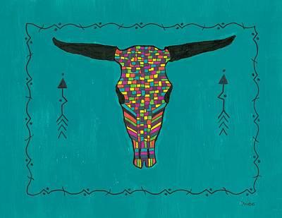 Turquoise Longhorn Skull Art Print