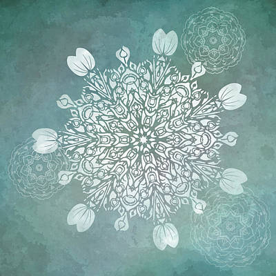 Digital Art - Turquoise Mandala Float by Deborah Smith