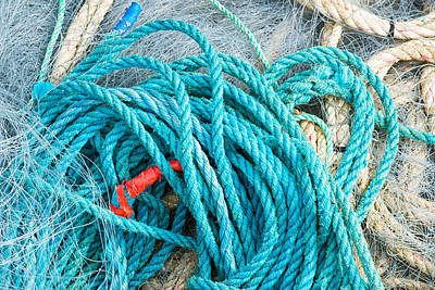 Photograph - Turquoise Marine Rope by Matthias Hauser