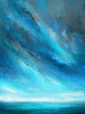 Ocean At Sunset Painting - Turquoise Memories - Turquoise Abstract Art by Lourry Legarde