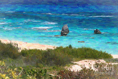 Art Print featuring the photograph Turquoise Ocean And Pink Beach by Verena Matthew