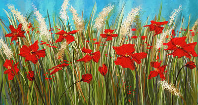 Red Abstract Painting - Turquoise Poppies - Red And Turquoise Art by Lourry Legarde