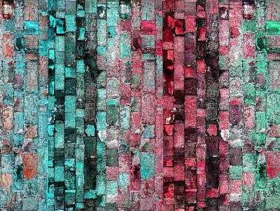 Digital Art - Turquoise Ruby Wall by Stephanie Grant