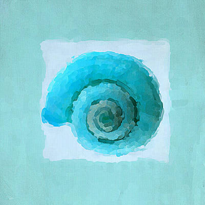 Abstract Seascape Painting - Turquoise Seashells IIi by Lourry Legarde