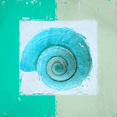 Abstract Seascape Painting - Turquoise Seashells X by Lourry Legarde
