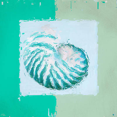 Abstract Seascape Painting - Turquoise Seashells Xii by Lourry Legarde