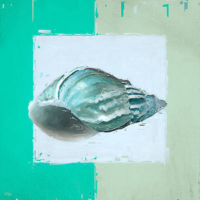 Abstract Seascape Painting - Turquoise Seashells Xiv by Lourry Legarde