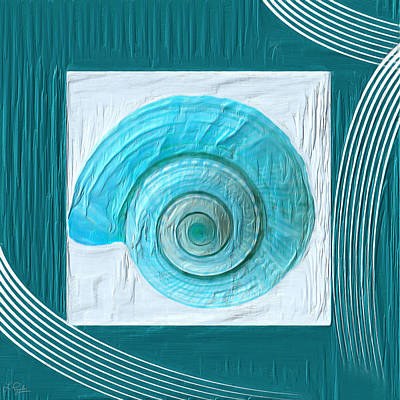 Abstract Seascape Art Painting - Turquoise Seashells Xvii by Lourry Legarde