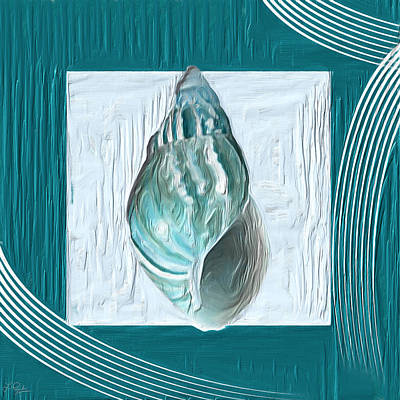 Abstract Seascape Art Painting - Turquoise Seashells Xx by Lourry Legarde