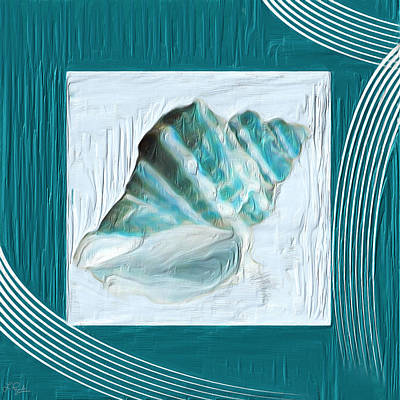 Light Green Abstract Painting - Turquoise Seashells Xxii by Lourry Legarde