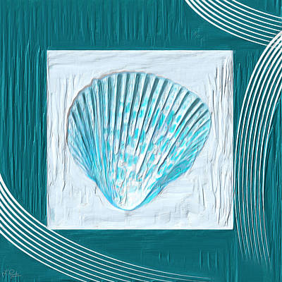 Light Green Abstract Painting - Turquoise Seashells Xxiii by Lourry Legarde