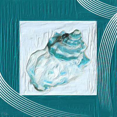 Navy Painting - Turquoise Seashells Xxiv by Lourry Legarde