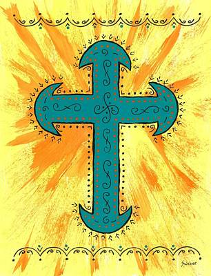 Art Print featuring the painting Turquoise Southwestern Cross by Susie Weber